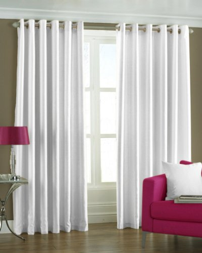 PINDIA Eyelet Polyester Window Curtain - 5ft, White