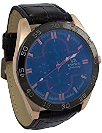 Addic EWWE Stylish Black Tachymeter And Dark Blue Dial With Black Leather Straps Watch For Men (70)