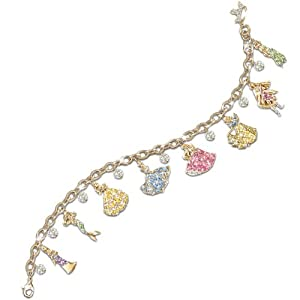 Disney Princess Charm Bracelet With Swarovski Crystals: Collectible Disney Jewelry by The Bradford Exchange