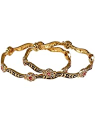 Glory Jewels Black Meena Bangle With AD Diamonds And Color Stone (Pack Of 2)
