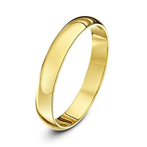 Theia 9ct Yellow Gold - Super Heavy D Shape - Highly Polished - 3mm Wedding Ring - for Men or Women - Size Q