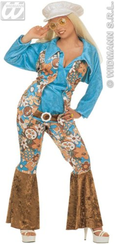 Blue Hippy Lady Costume for 70s Fancy Dress. Size 16 to 18
