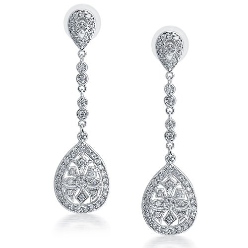 Bling Jewelry Bridal Art Deco Pave CZ Teardrop Silver Plated Chandelier Earrings Large 2.5