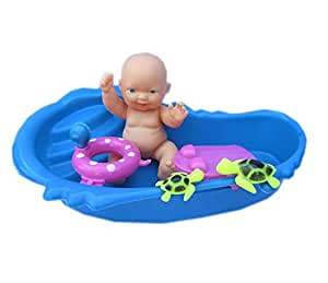 baby doll and accessories baby doll bath tub swim ring color may vary toys games. Black Bedroom Furniture Sets. Home Design Ideas