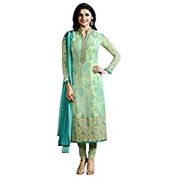 Radhika Lime Green Georgette Dress Material