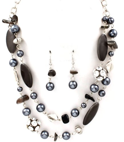 Sparkles Fashion Necklace - Gray Necklace and Earring SET / Pearl / Crystal Studs / Multi Layers / Formica / Texture / 18 Inch Long / Nickel and Lead Compliant / - Dangle Drop Chunky Statement Wedding Jewelry