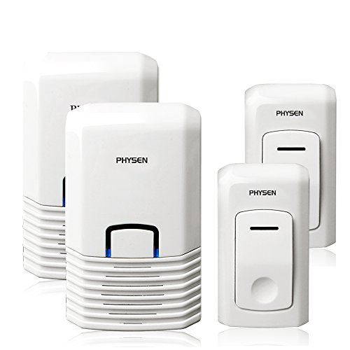Physen® Modern Air Conditioner Design Wireless Doorbell Kit ,52 Chimes Waterproof Bionic Push Button Range up to 300 Meters (2*transmitter+2*receiver)