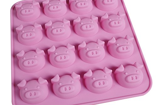 Bluetop(Tm) Silicone Cake Bread Mold And Baking Pan Pink Tray Diy Mould (16 Cavity Pigs)