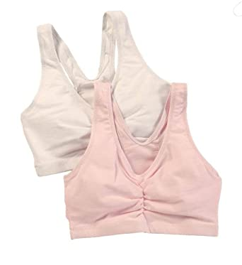 Hanes Women's Stretch Cotton Sport Top 2-Pack H570, L, White/Pink