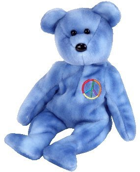 TY Beanie Baby - PEACE 2003 the Bear (Blue Version - Non-Colored Peace Sign ) (UK Exclusive)