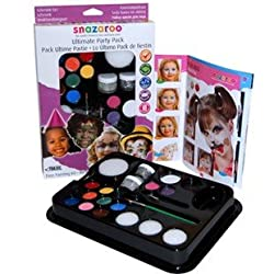 Snazaroo Ultimate Party Pack Face Paint Set with Brushes and Glitter and 10 Face Paint Colors