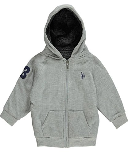 U.S. Polo Assn. Little Boys' Boys Yarn Dye Jersey Hoodie, Light Heather Gray, 2T