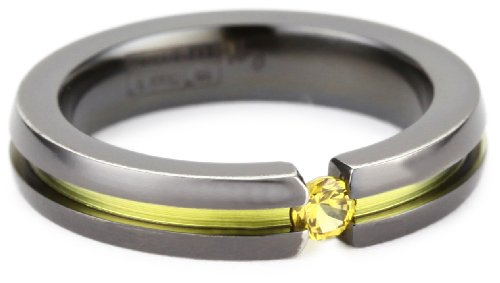 Women's Black Titanium Round-Cut Yellow Sapphire Ring with Yellow Anodized Channel, Size 8.5