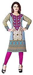 SANVARI FASHION Women's Crepe Straight Kurta (Event111 -A, Multi-Coloured, L)