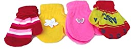 Set of Four Pairs Stretch Magic Mittens Two Pairs for Infants 0-6 Months