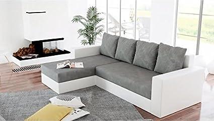 Canapé d'angle réversible et convertible ARION gris et blanc