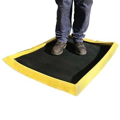 Heavy duty yellow border boot shoe dip tray 80 x 100cm food production farm