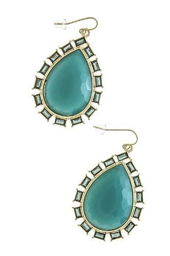 Karmas Canvas Acrylic Teardrop Jewel Earrings (Turquoise) front-224506