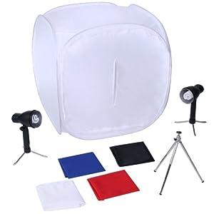 Fotozelt Lichtwürfel Fotobox inklusive Lampen, Stativ und Hintergründe ca.63x63x63cm