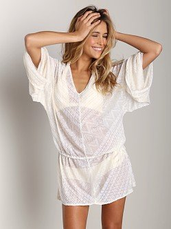 Vitamin A 2014 White Diamond Crochet Bianca Caftan Tunic (Medium)
