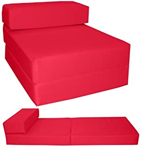 Gilda ® STANDARD CHAIRBED - RED FRESCO Single Chair Bed Futon Water & Stain Resistant