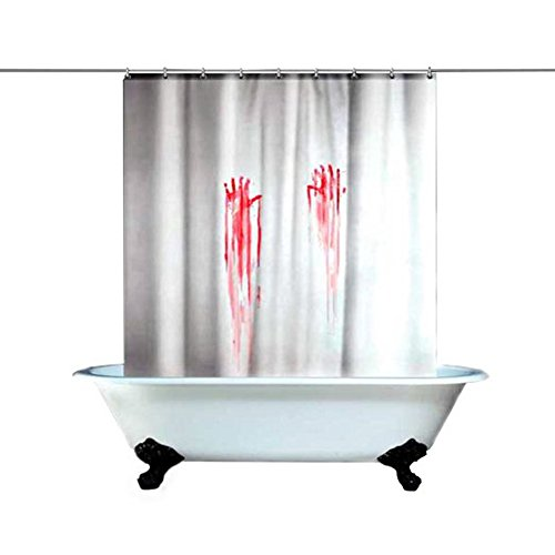 [B&Y Halloween Shower Curtain Bloody Hands Gruseome Shower Curtain Halloween Party Decoration] (Halloween Decorations New York)