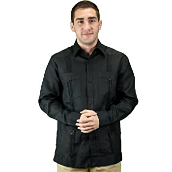 Mens long sleeve guayabera shirt, black.