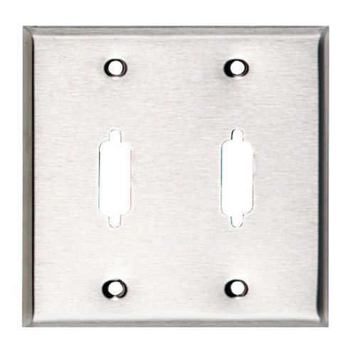 Stainless Steel Wallplate, Db15, Double-Width, 2-Punch