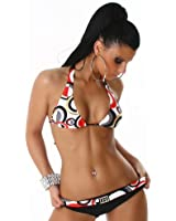 Princess4Beach 1032 Maillot de bain 2 pièces avec haut triangle push up Blanc/rouge
