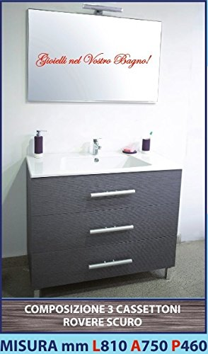 ANNA 19 - Composizione mobile ROVERE SCURO 3 cassettoni , Lavello Ceramica, Specchiera e lampada Luce 810 mm