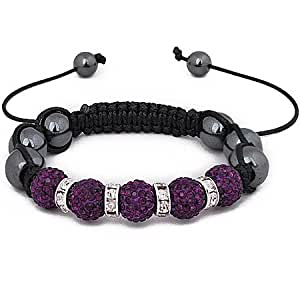 Shamballa friendship bracelet Genuine Hematite stone beads & amethyst crystal stone bead disco balls with clear stone spacers excellent quality for a fraction of the price of celebrity bracelets. adjustable uni-sex RRP £59