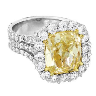 8.38 Ct Fancy Yellow Diamond Ring Set in Platinum