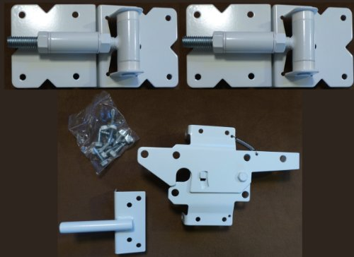Vinyl Fence Hardware - Single Gate Kit - White (Vinyl Gate Hinges and Latch)