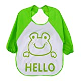 Malloom® Cartoon Kids plástico translúcido suave para bebés baberos impermeables (verde)