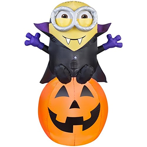 HALLOWEEN INFLATABLE 5 VAMPIRE MINION BOB ON PUMPKIN
