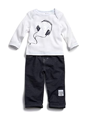 Guess Kids Baby Boy 0-9 Months Headphone Jean Set (0-3 Months, White)