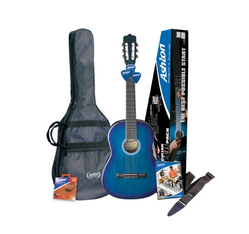 Ashton CG44 Full Size Classical Guitar Pack in Blue with Accessories