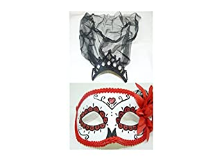 Day of the Dead Skull / Dia De Los Muertos Mask with Tiara with Veil from Halloween