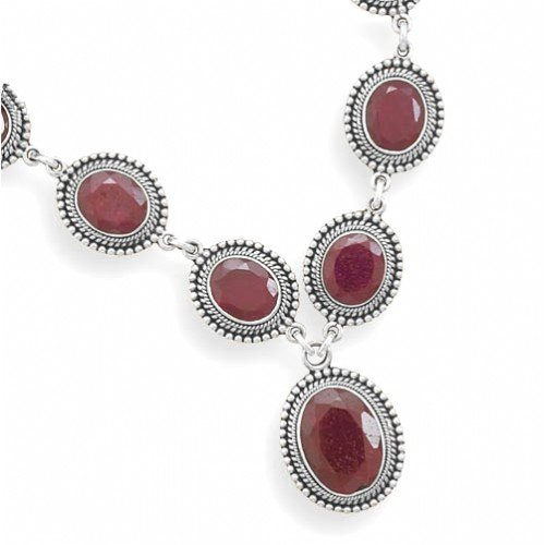 Oxidized Oval Faceted Rough-Cut Ruby with Bead Design Necklace