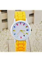 Silicone female fashion color rhinestone watches girl dresses style men quartz watch watches
