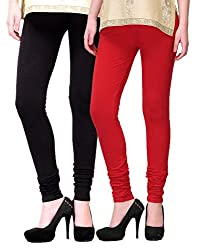 2Day Womens Cotton Churidaar Legging Black/Red (Pack Of 2)