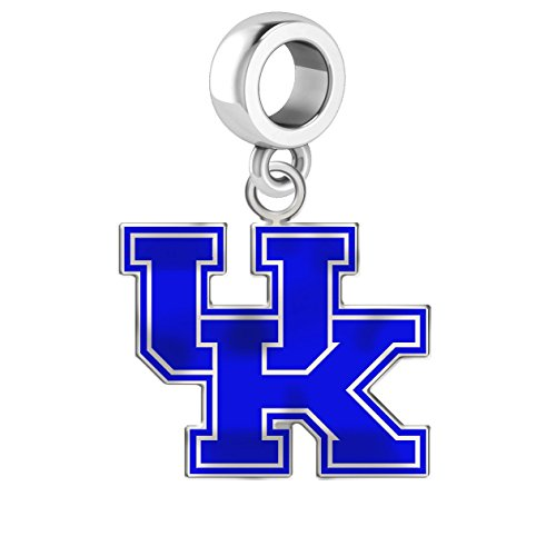 University of Kentucky Wildcats Uk Silver Logo and School Color Charm Fits All European Style Charm Bracelets