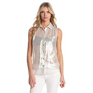 Kenneth Cole New York Women's Justine Blouse, Ivory/Silver, Medium