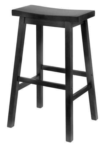 Winsome Wood 29-Inch Saddle Seat Bar Stool, Black (Black Wood Bar Stools compare prices)