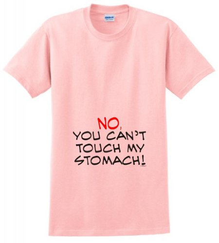 No You Can'T Touch My Stomach Maternity Themed T-Shirt Medium Light Pink