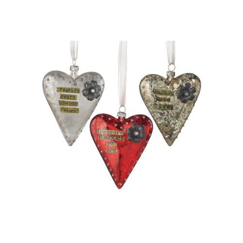 heart shaped christmas tree ornaments - Faith & Love Glass Heart Ornaments Jeweled Set of 3