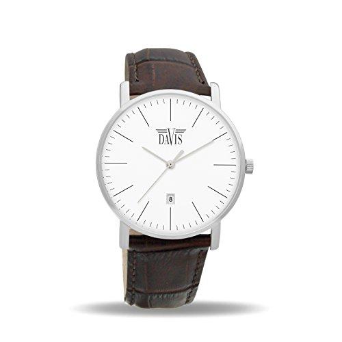 davis-1990-montre-design-classique-homme-femme-extra-plate-cadran-blanc-date-bracelet-cuir-marron