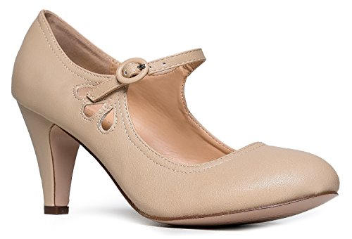 Kitten Heels Mary Jane Pumps By Zooshoo- Adorable Vintage Shoes- Unique Round Toe Design With An Adjustable Strap,Nude,8 B(M) US