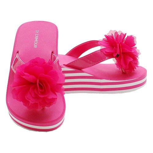 Toddler Girls 9 Fuchsia Flower Wedged Striped Flip Flop Sandals front-1064573
