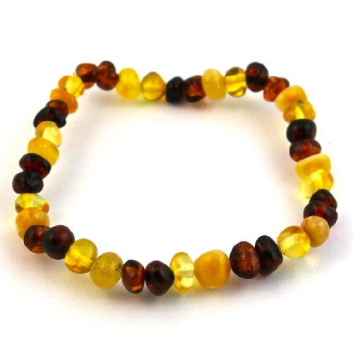 "Hazelaid (TM) 8"" Baltic Amber Multicolored Round Bracelet (on elastic) - 1"